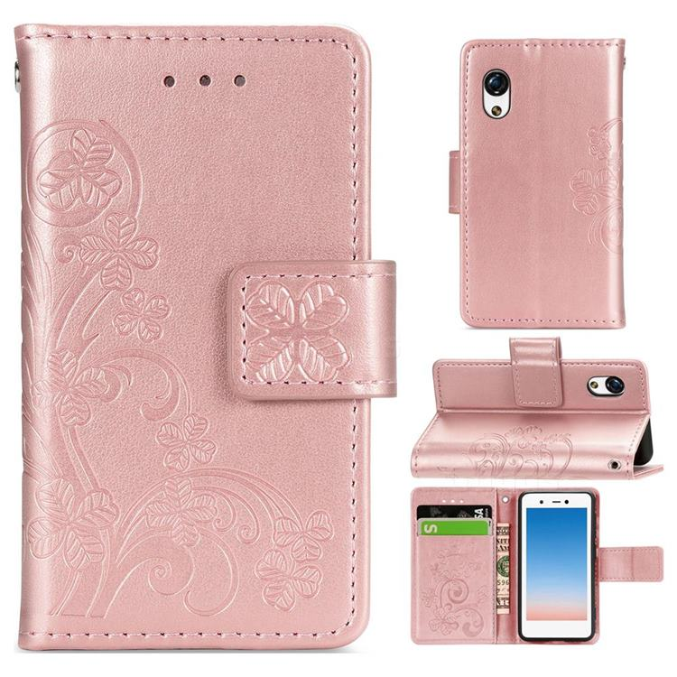 Embossing Imprint Four-Leaf Clover Leather Wallet Case for Rakuten Mini - Rose Gold