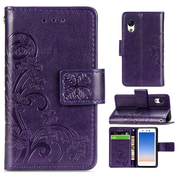 Embossing Imprint Four-Leaf Clover Leather Wallet Case for Rakuten Mini - Purple