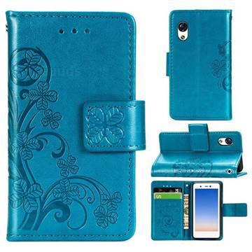 Embossing Imprint Four-Leaf Clover Leather Wallet Case for Rakuten Mini - Blue