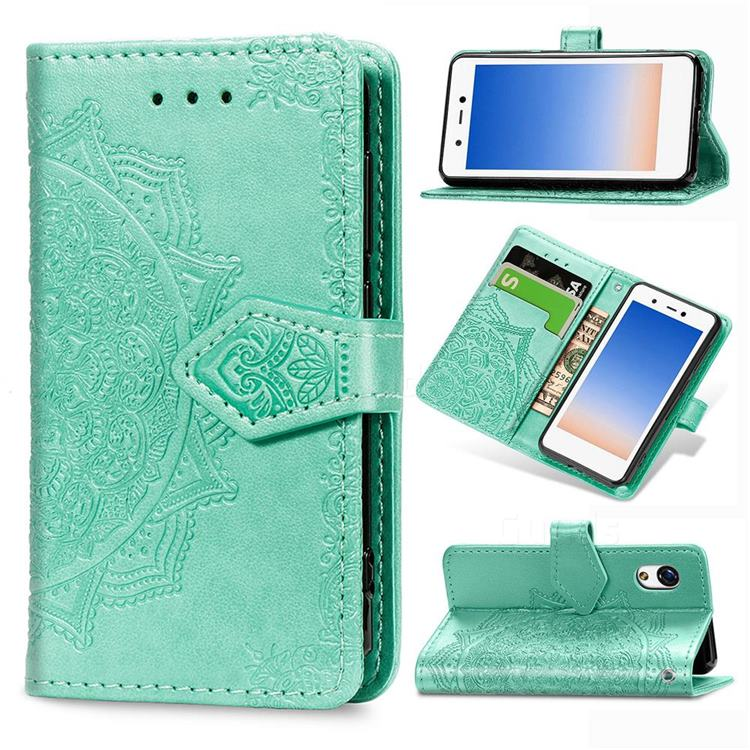 Embossing Imprint Mandala Flower Leather Wallet Case for Rakuten Mini - Green