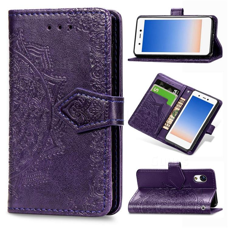 Embossing Imprint Mandala Flower Leather Wallet Case for Rakuten Mini - Purple