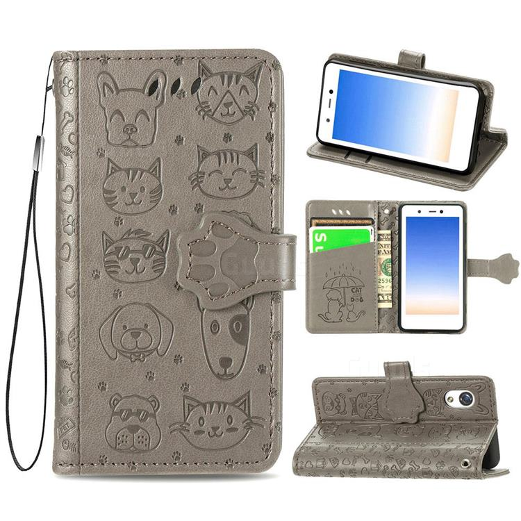 Embossing Dog Paw Kitten and Puppy Leather Wallet Case for Rakuten Mini - Gray