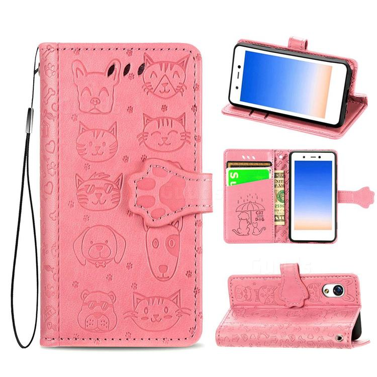 Embossing Dog Paw Kitten and Puppy Leather Wallet Case for Rakuten Mini - Pink