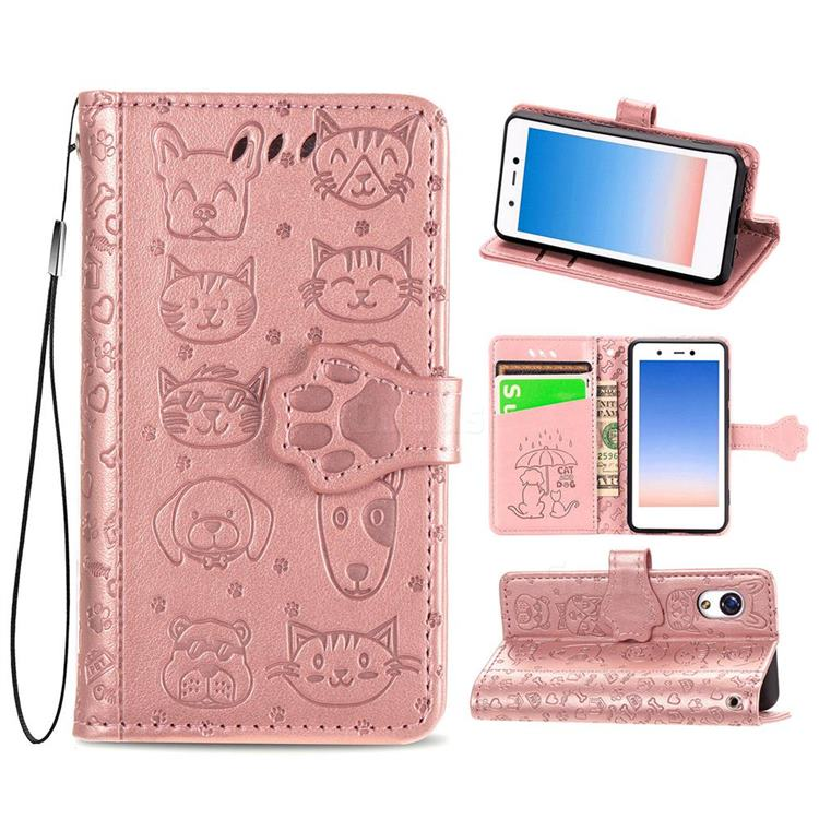 Embossing Dog Paw Kitten and Puppy Leather Wallet Case for Rakuten Mini - Rose Gold