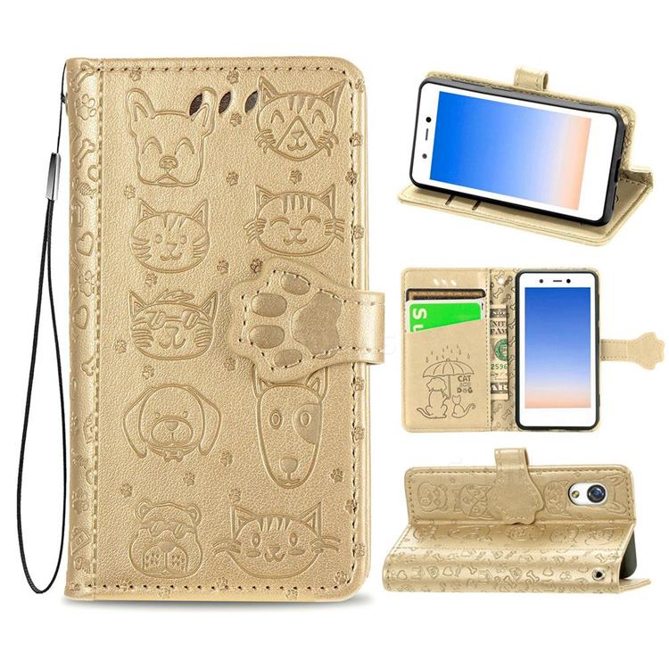 Embossing Dog Paw Kitten and Puppy Leather Wallet Case for Rakuten Mini - Champagne Gold