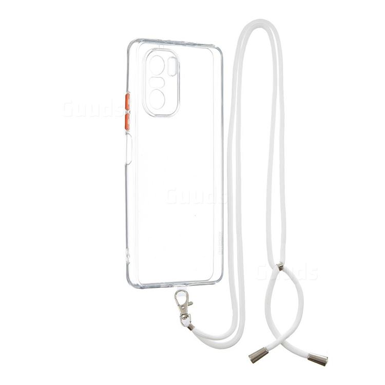 Necklace Cross-body Lanyard Strap Cord Phone Case Cover for Xiaomi Redmi K40 - Transparent