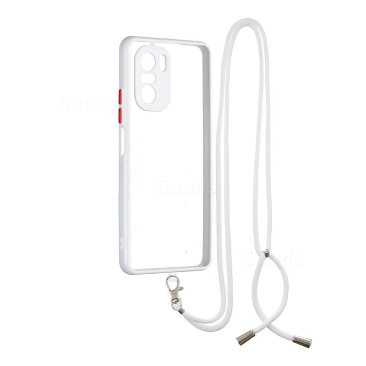 Necklace Cross-body Lanyard Strap Cord Phone Case Cover for Xiaomi Redmi K40 - White
