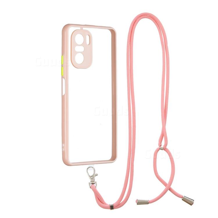 Necklace Cross-body Lanyard Strap Cord Phone Case Cover for Xiaomi Redmi K40 - Pink