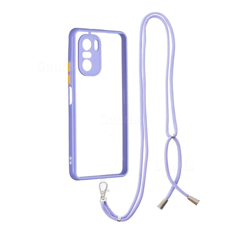 Necklace Cross-body Lanyard Strap Cord Phone Case Cover for Xiaomi Redmi K40 - Purple