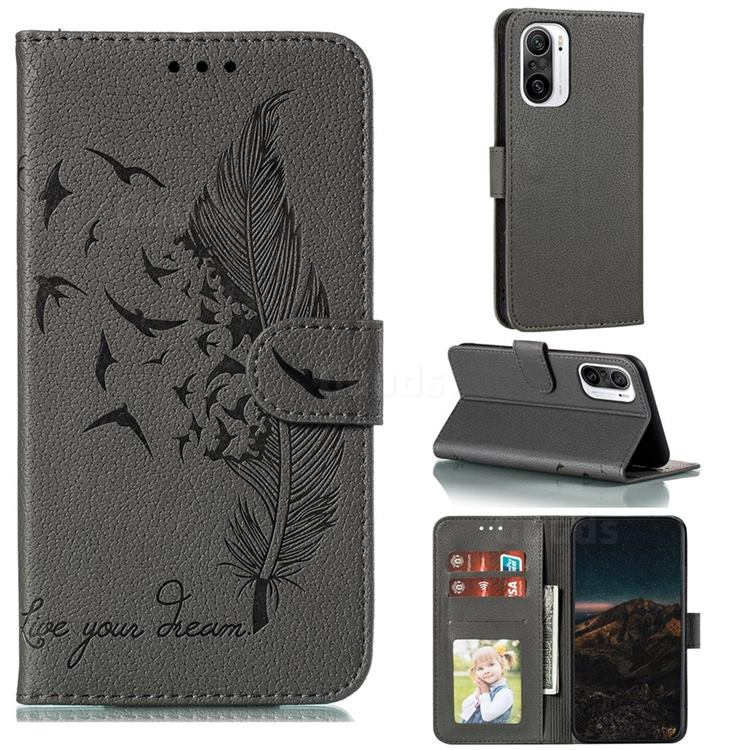 Intricate Embossing Lychee Feather Bird Leather Wallet Case for Xiaomi Redmi K40 - Gray
