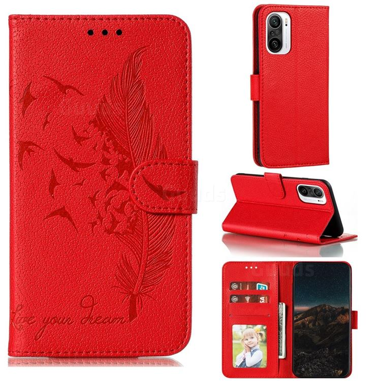 Intricate Embossing Lychee Feather Bird Leather Wallet Case for Xiaomi Redmi K40 - Red