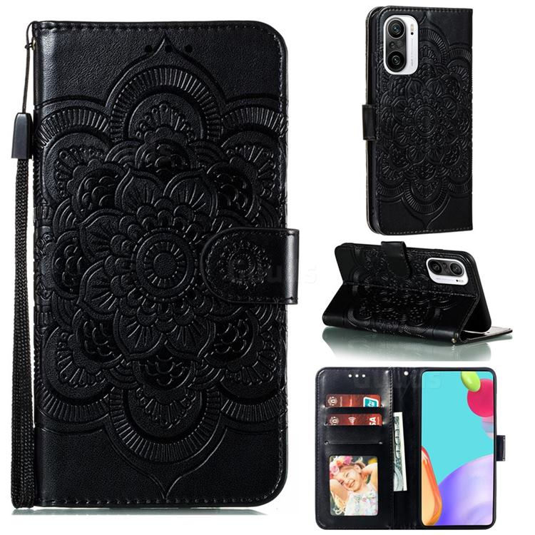 Intricate Embossing Datura Solar Leather Wallet Case for Xiaomi Redmi K40 - Black