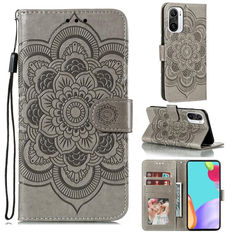 Intricate Embossing Datura Solar Leather Wallet Case for Xiaomi Redmi K40 - Gray
