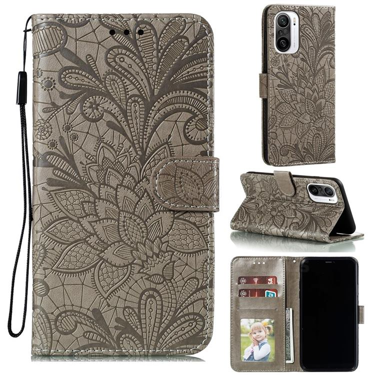 Intricate Embossing Lace Jasmine Flower Leather Wallet Case for Xiaomi Redmi K40 - Gray