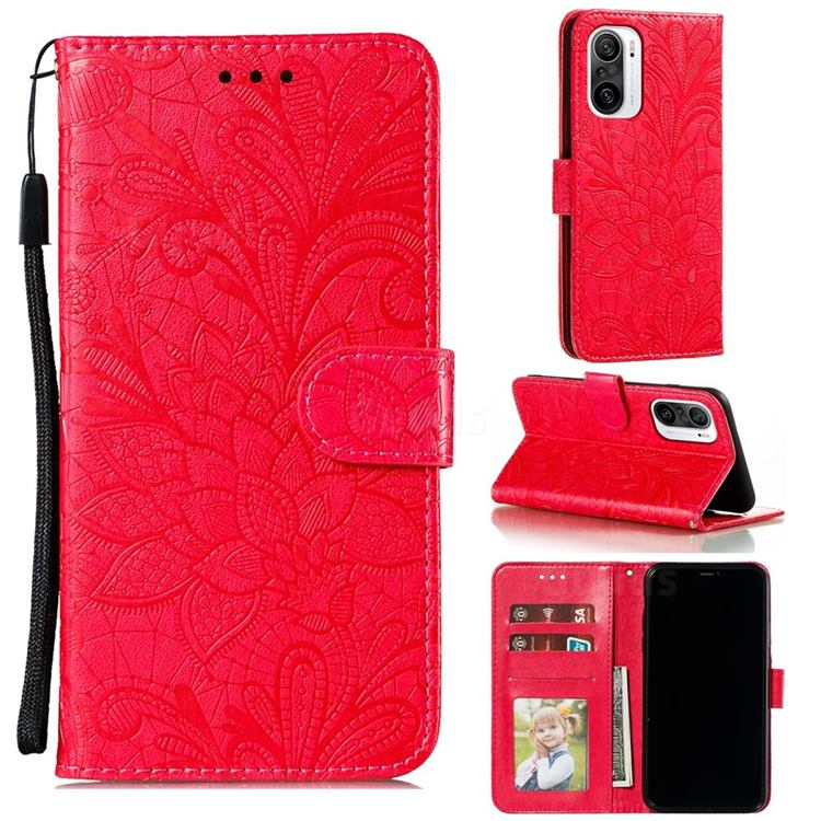 Intricate Embossing Lace Jasmine Flower Leather Wallet Case for Xiaomi Redmi K40 - Red