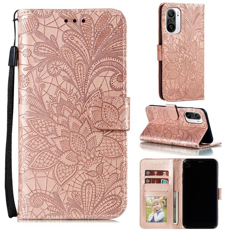 Intricate Embossing Lace Jasmine Flower Leather Wallet Case for Xiaomi Redmi K40 - Rose Gold