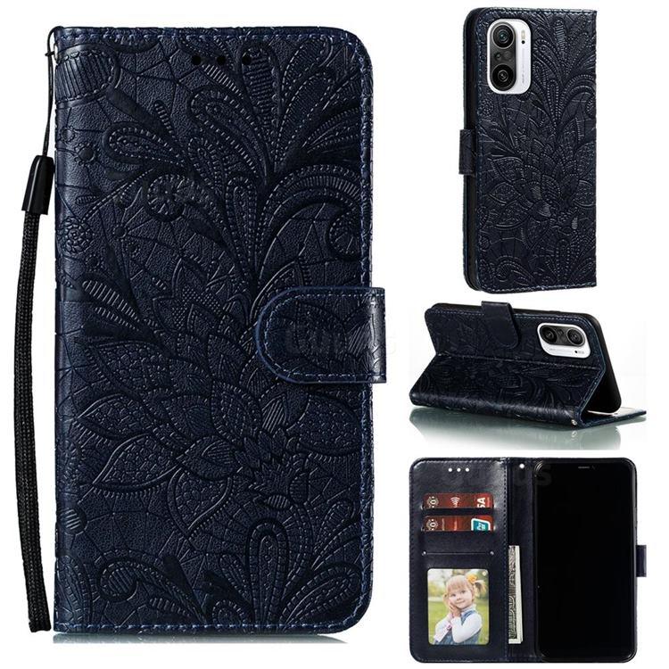 Intricate Embossing Lace Jasmine Flower Leather Wallet Case for Xiaomi Redmi K40 - Dark Blue
