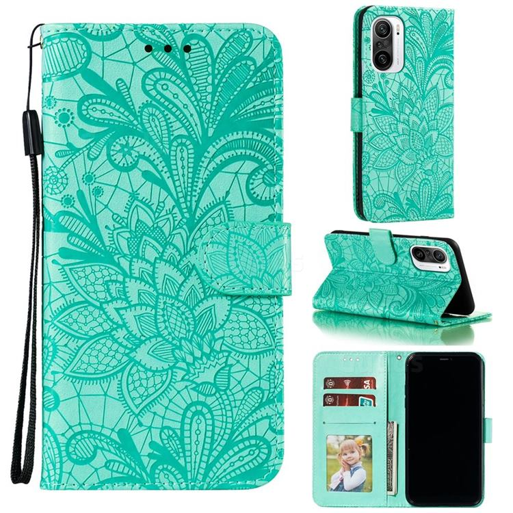 Intricate Embossing Lace Jasmine Flower Leather Wallet Case for Xiaomi Redmi K40 - Green