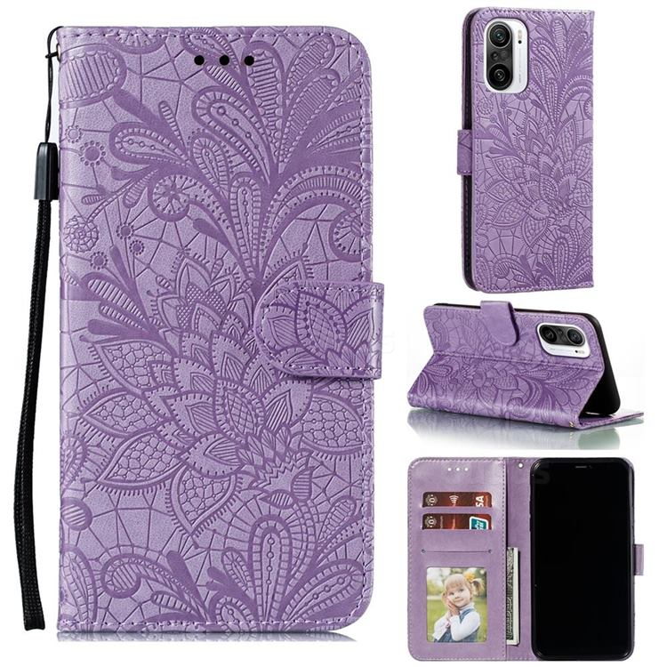 Intricate Embossing Lace Jasmine Flower Leather Wallet Case for Xiaomi Redmi K40 - Purple
