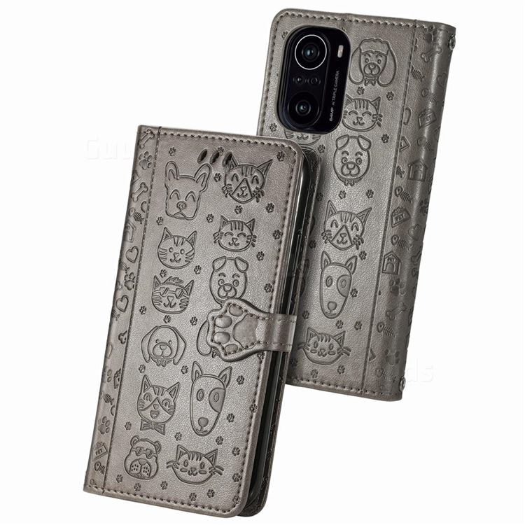 Embossing Dog Paw Kitten and Puppy Leather Wallet Case for Xiaomi Redmi K40 - Gray