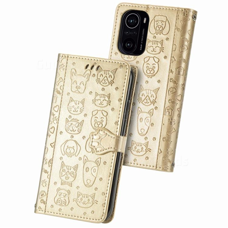 Embossing Dog Paw Kitten and Puppy Leather Wallet Case for Xiaomi Redmi K40 - Champagne Gold