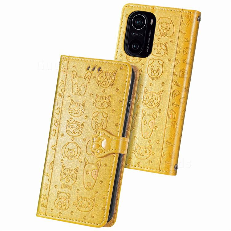 Embossing Dog Paw Kitten and Puppy Leather Wallet Case for Xiaomi Redmi K40 - Yellow