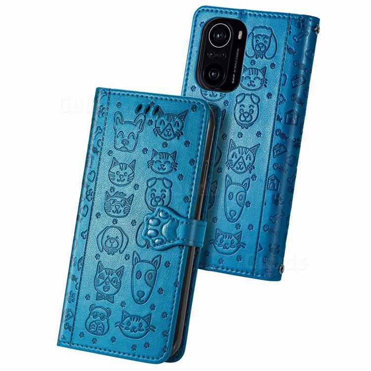 Embossing Dog Paw Kitten and Puppy Leather Wallet Case for Xiaomi Redmi K40 - Blue
