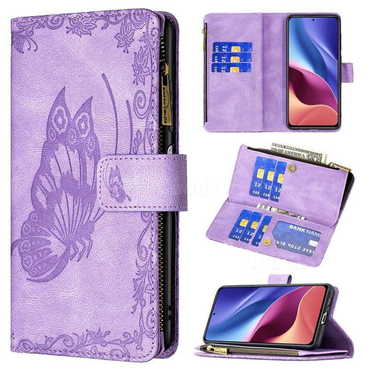 Binfen Color Imprint Vivid Butterfly Buckle Zipper Multi-function Leather Phone Wallet for Xiaomi Redmi K40 - Purple