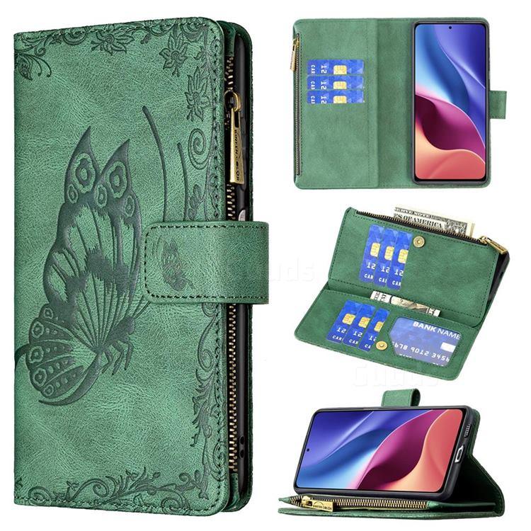 Binfen Color Imprint Vivid Butterfly Buckle Zipper Multi-function Leather Phone Wallet for Xiaomi Redmi K40 - Green