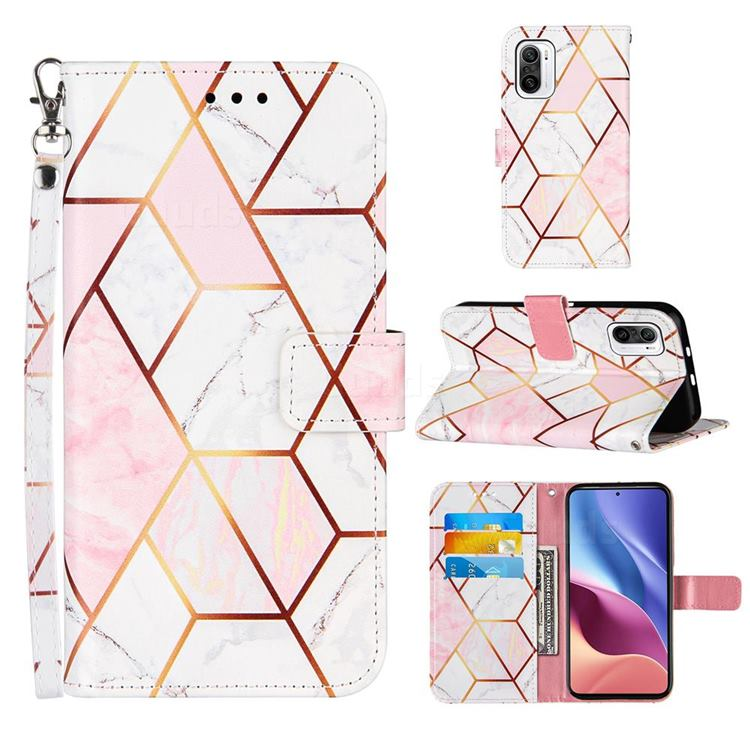 Pink White Stitching Color Marble Leather Wallet Case for Xiaomi Redmi K40