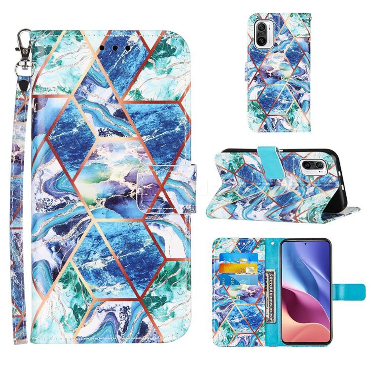 Green and Blue Stitching Color Marble Leather Wallet Case for Xiaomi Redmi K40