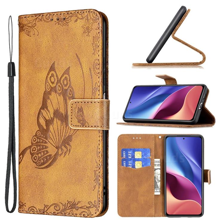 Binfen Color Imprint Vivid Butterfly Leather Wallet Case for Xiaomi Redmi K40 - Brown