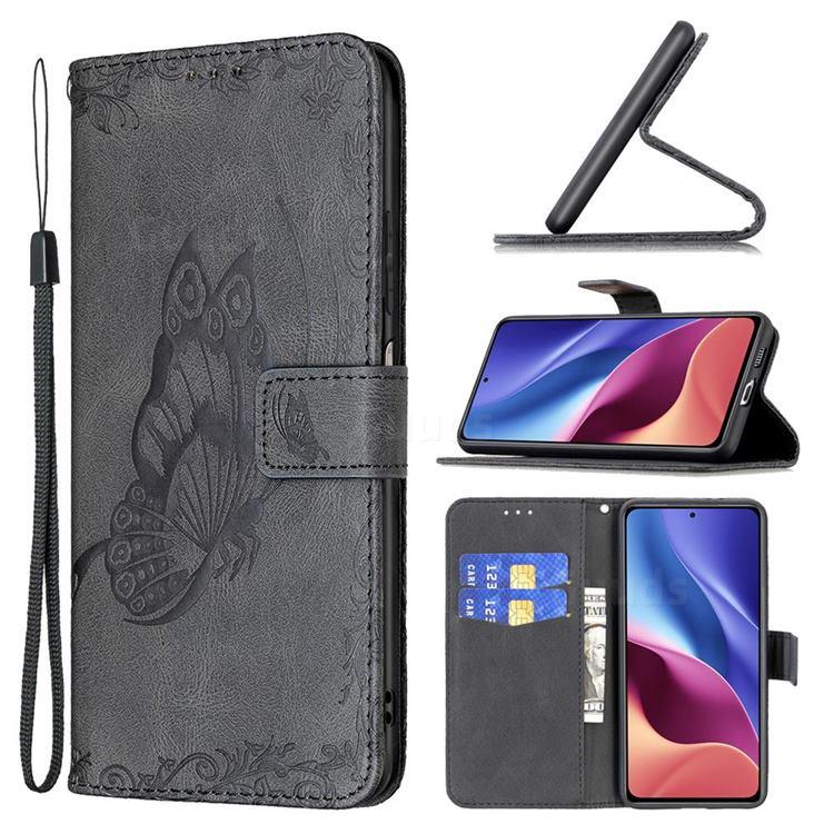 Binfen Color Imprint Vivid Butterfly Leather Wallet Case for Xiaomi Redmi K40 - Black