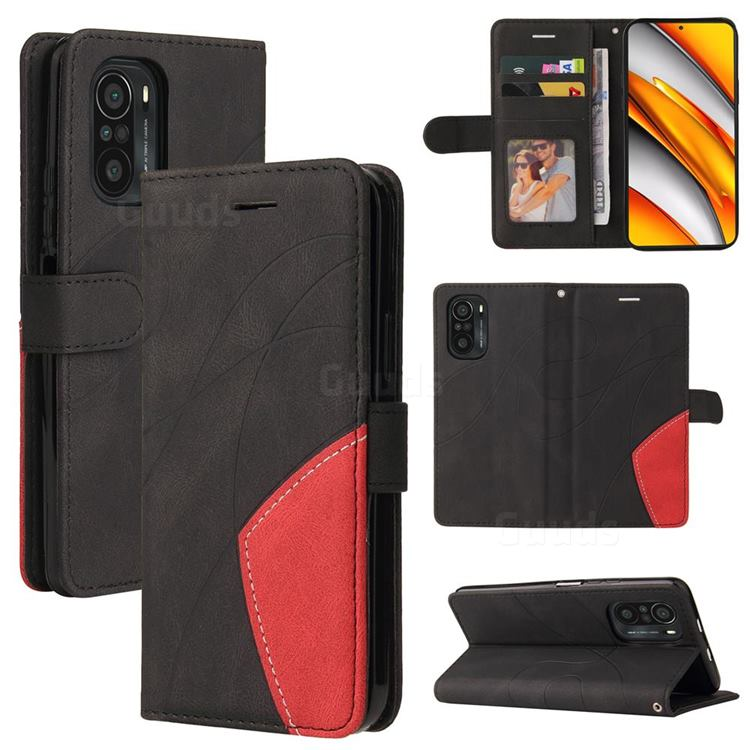 Luxury Two-color Stitching Leather Wallet Case Cover for Xiaomi Redmi K40 / K40 Pro - Black