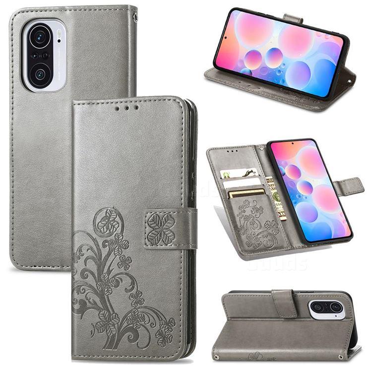 Embossing Imprint Four-Leaf Clover Leather Wallet Case for Xiaomi Redmi K40 / K40 Pro - Grey