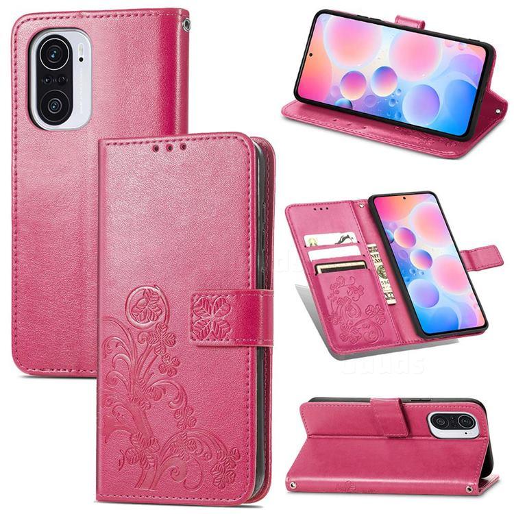 Embossing Imprint Four-Leaf Clover Leather Wallet Case for Xiaomi Redmi K40 / K40 Pro - Rose Red
