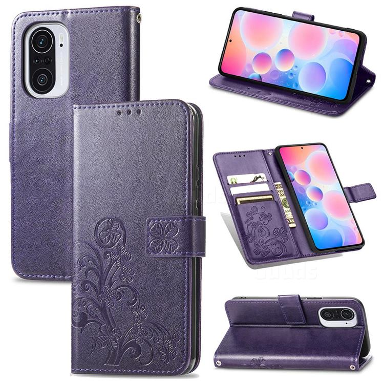 Embossing Imprint Four-Leaf Clover Leather Wallet Case for Xiaomi Redmi K40 / K40 Pro - Purple