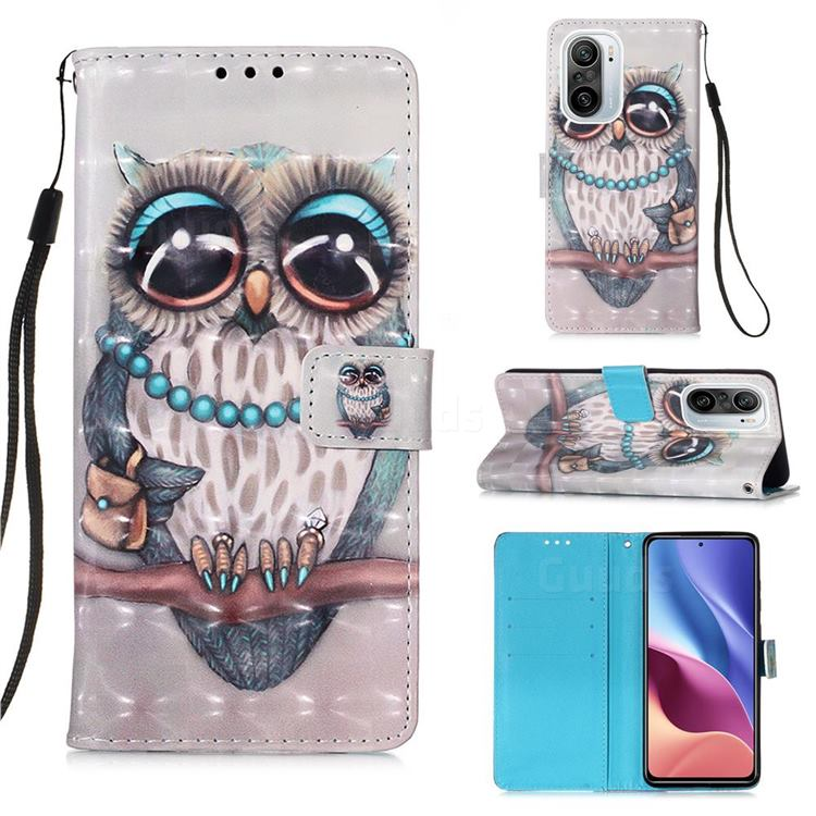 Sweet Gray Owl 3D Painted Leather Wallet Case for Xiaomi Redmi K40 / K40 Pro