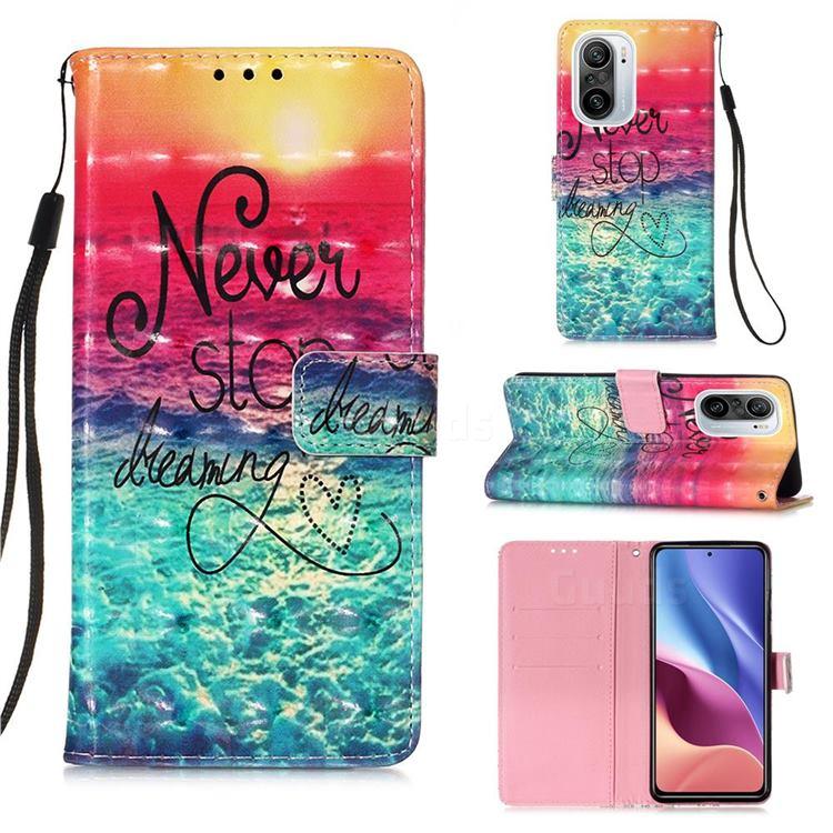 Colorful Dream Catcher 3D Painted Leather Wallet Case for Xiaomi Redmi K40 / K40 Pro