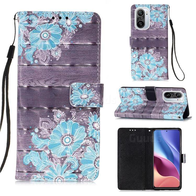 Blue Flower 3D Painted Leather Wallet Case for Xiaomi Redmi K40 / K40 Pro