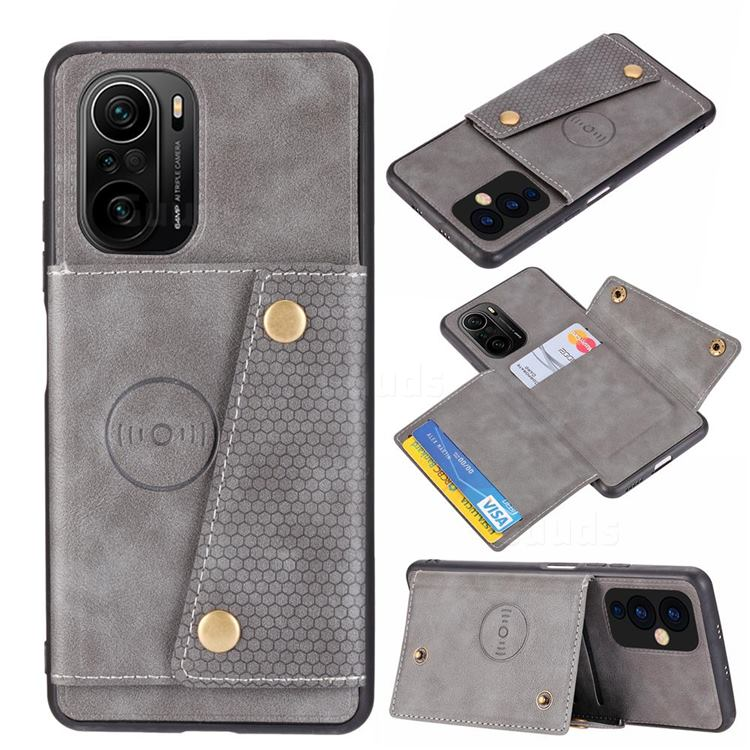 Retro Multifunction Card Slots Stand Leather Coated Phone Back Cover for Xiaomi Redmi K40 / K40 Pro - Gray