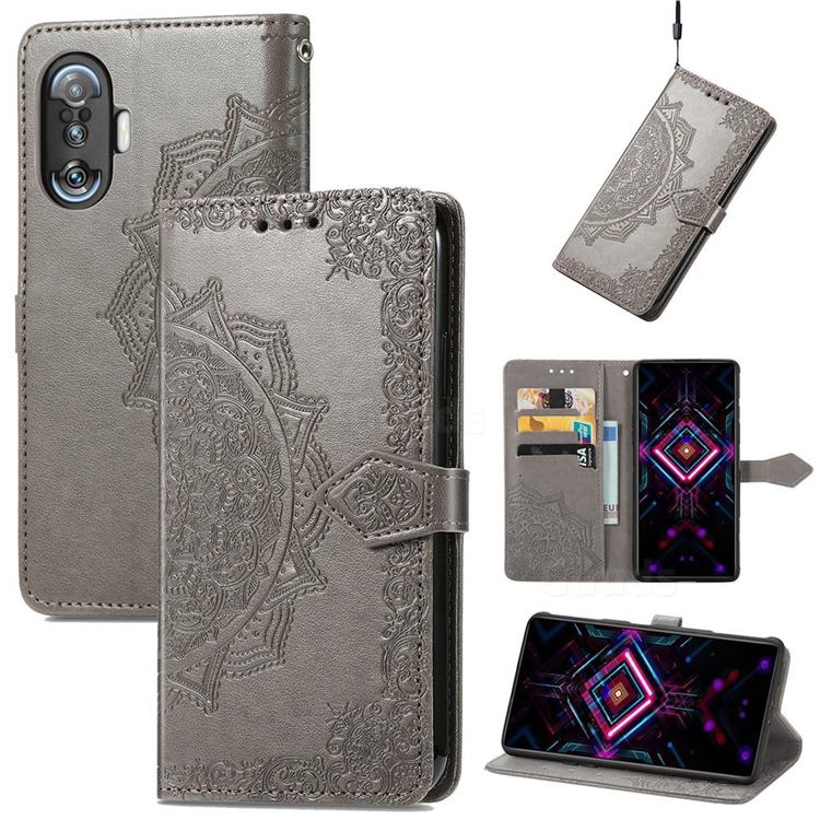Embossing Imprint Mandala Flower Leather Wallet Case for Xiaomi Redmi K40 Gaming - Gray
