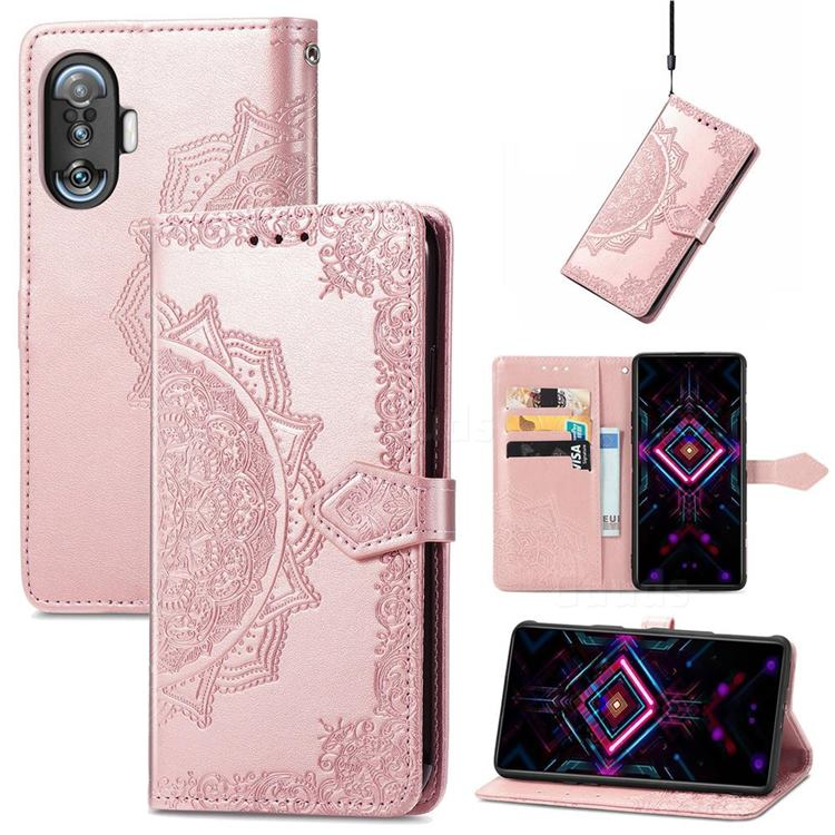 Embossing Imprint Mandala Flower Leather Wallet Case for Xiaomi Redmi K40 Gaming - Rose Gold