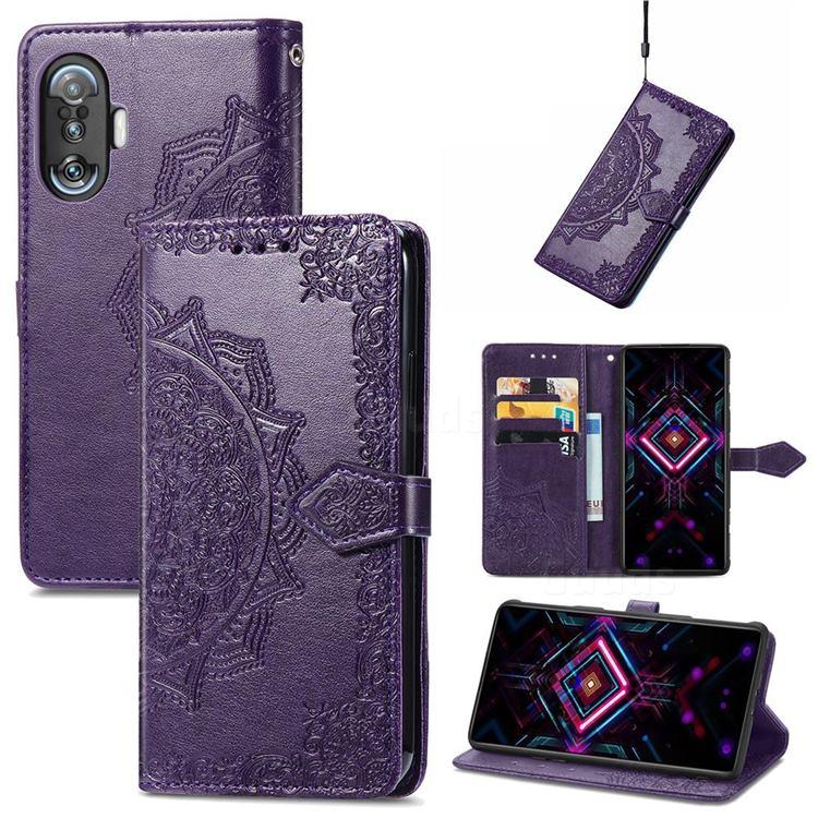 Embossing Imprint Mandala Flower Leather Wallet Case for Xiaomi Redmi K40 Gaming - Purple