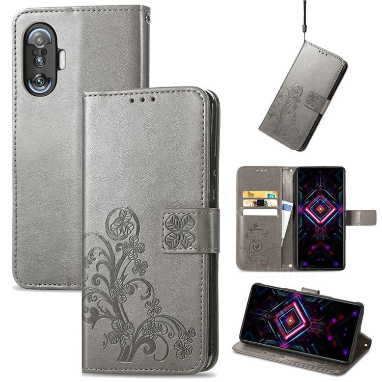Embossing Imprint Four-Leaf Clover Leather Wallet Case for Xiaomi Redmi K40 Gaming - Grey
