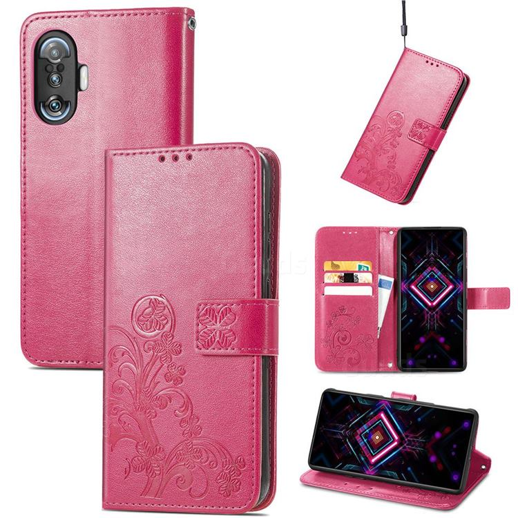 Embossing Imprint Four-Leaf Clover Leather Wallet Case for Xiaomi Redmi K40 Gaming - Rose Red