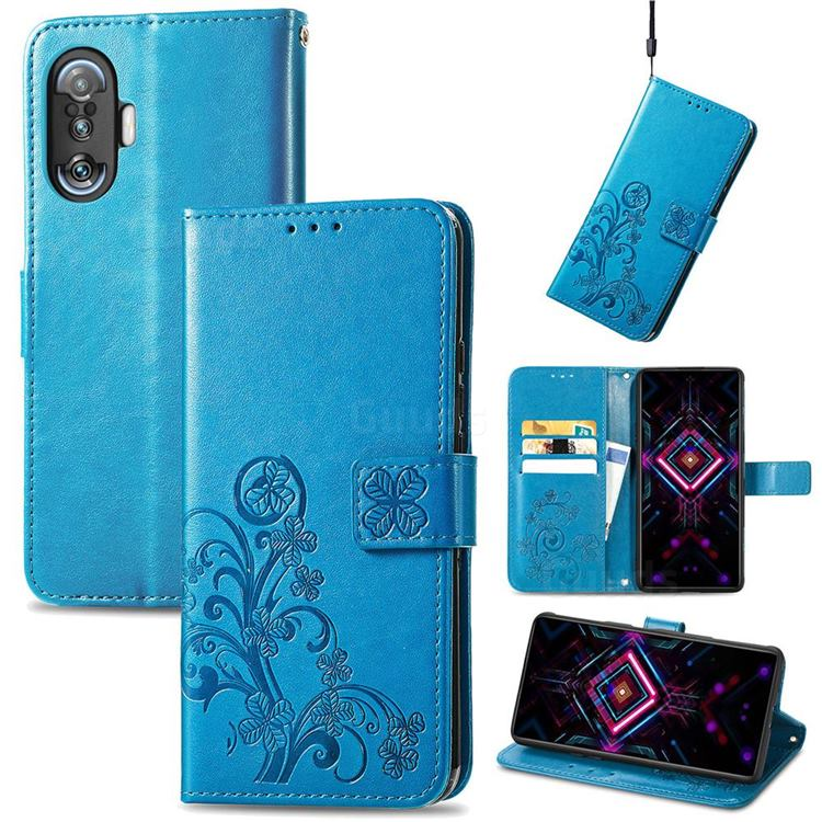 Embossing Imprint Four-Leaf Clover Leather Wallet Case for Xiaomi Redmi K40 Gaming - Blue