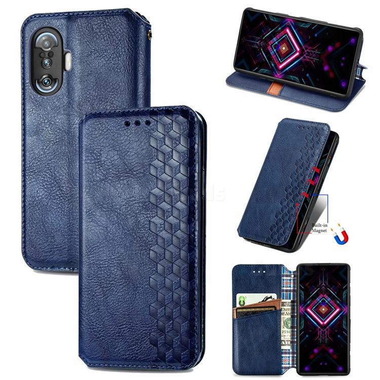 Ultra Slim Fashion Business Card Magnetic Automatic Suction Leather Flip Cover for Xiaomi Redmi K40 Gaming - Dark Blue