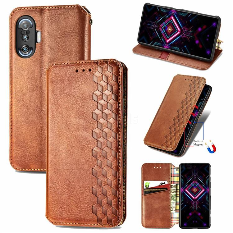 Ultra Slim Fashion Business Card Magnetic Automatic Suction Leather Flip Cover for Xiaomi Redmi K40 Gaming - Brown