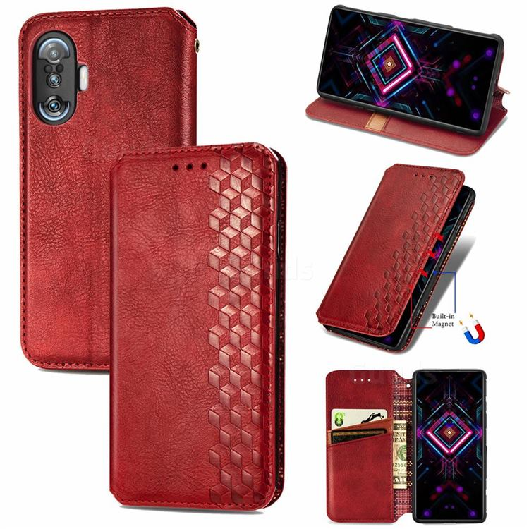 Ultra Slim Fashion Business Card Magnetic Automatic Suction Leather Flip Cover for Xiaomi Redmi K40 Gaming - Red